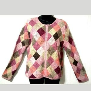 Talbot's Petites L multicolored patch sweater